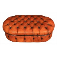 Vintage Hand Dyed Leather Chesterfield Pouffe Footstool