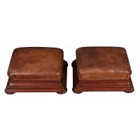Pair of Antique Mahogany & Leather Footstools