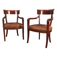 Pair of Mahogany & Leather Library Armchairs