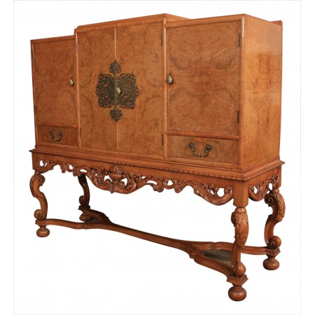 Burr Walnut Cocktail Cabinet Sideboard