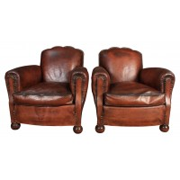 Vintage Pair of French Leather Club Chairs