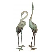 Large Vintage Pair of Bronze Cranes