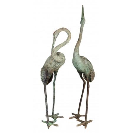 Large Vintage Pair of Bronze Cranes