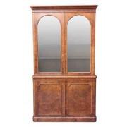 Victorian Burr Walnut Glazed Bookcase