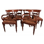 Set of 10 Regency Mahogany & Leather Dining Chairs