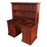 Rare Flame Mahogany Dickens Bookcase Desk