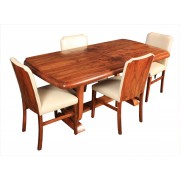 Art Deco Walnut Dining Table & 4 Chairs