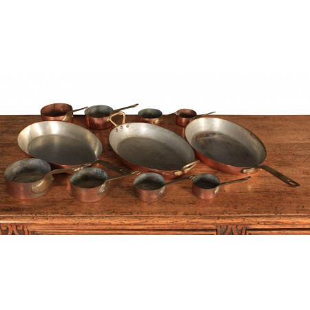 Victorian Miniature Copper Saucepan Set