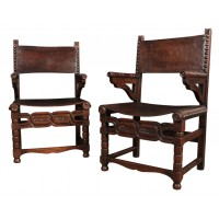 Pair of Oak & Leather Armchairs