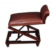 Adjustable Leather & Mahogany Footstool