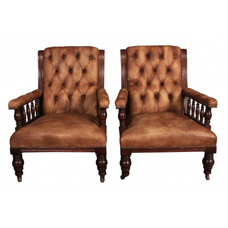 Pair of Victorian Mahogany & Leather Library Armchairs