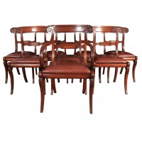 Set of 8 Regency Mahogany & Leather Dining Chairs