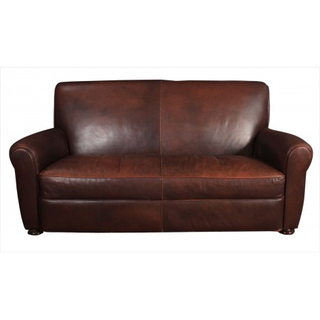 French Leather Club Sofa