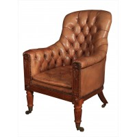 William IV Rosewood & Leather Library Chair