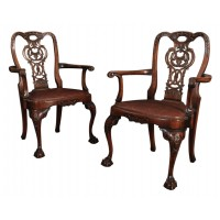 Pair of Walnut & Leather Chippendale Style Armchairs