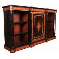 Victorian Satinwood & Ebony Triple Open Bookcase