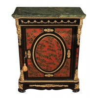 Impressive Marble Top Boulle Brass Inlaid Black Cabinet