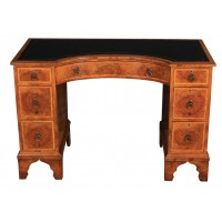 Queen Anne Style Burr Walnut Concave Shaped Writing Desk