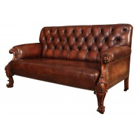 High Back Chesterfield Sofa, Brown Leather Circa 19th Century