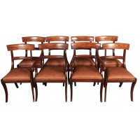 Set of 8 Regency Mahogany Bar Back Dining Chairs