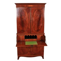 Regency Inlaid Mahogany Linen Press Secretaire Desk