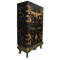 Black Lacquered Chinoiserie Cocktail Cabinet