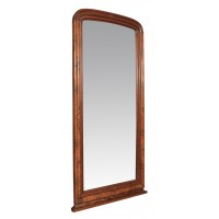 Victorian Burr Walnut Full Length Mirror