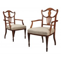 Pair of Fine Rosewood Marquetry Inlaid Armchairs