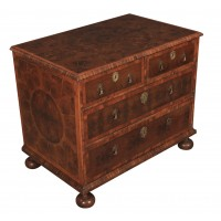 Exceptional 17th Century Oyster Veneered Small Chest of Drawers