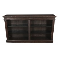 Large Carved Oak Open Bookcase