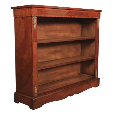 Figured Walnut Inlaid Open Bookcase