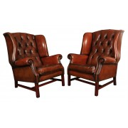 Vintage Pair of Brown Leather Wing Chairs