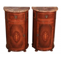 Pair of French Demi-Lune Walnut & Kingwood Console Cabinets