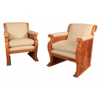 Pair of Art Deco Walnut & Leather Armchairs