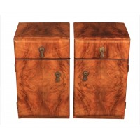 Pair of Art Deco Walnut Bedside Cabinets