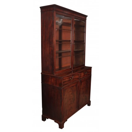 Rare Large Georgian Cuban Mahogany Bookcase