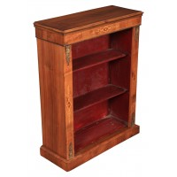 Marquetry Walnut Inlaid Open Bookcase