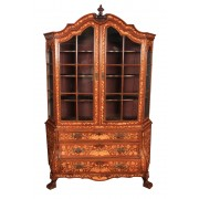 18th Century Dutch Marquetry Bombe Shaped Cabinet