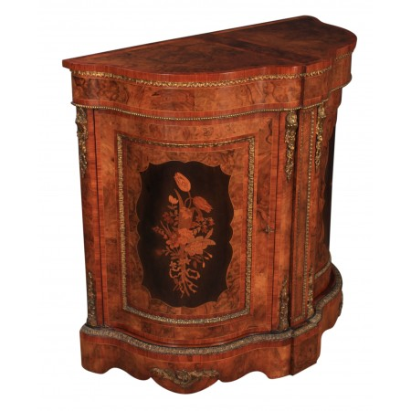 Unusual Marquetry Inlaid Shaped Cabinet
