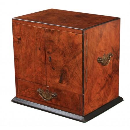 Victorian Burr Walnut Smokers Cabinet