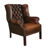 Distressed Brown Hand Dyed Buttoned Leather Wing Chair