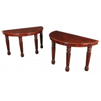 Magnificent Pair of Demi Lune Console Tables
