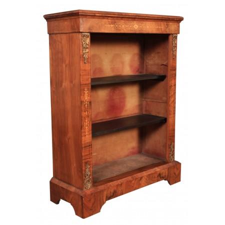 19th Century Walnut Marquetry Inlaid Open bookcase