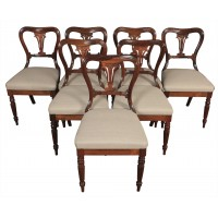 Set of 7 Rosewood Kidney Back Dining Chairs