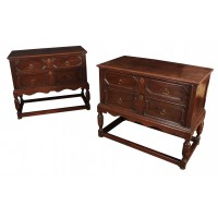 Pair of 18th Century Carved Oak Chests on Stands