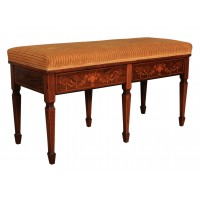 Marquetry Inlaid Rosewood Duet Piano Stool