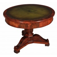 Beautiful French Flame Mahogany Drum Table