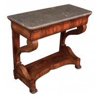 French Flame Mahogany Marble Top Console Table