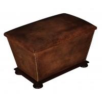 Victorian Leather & Mahogany Ottoman