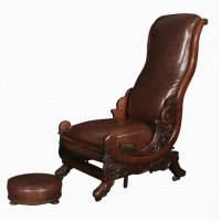 William IV Mahogany Rocking Chair and Footstool